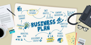 Flat design illustration concept for business plan Royalty Free Stock Photo