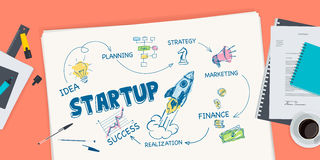 Flat design illustration concept for startup Stock Photography