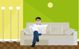 Flat design illustration concept for working place at office, workspace Stock Photo