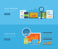 Flat design illustration concepts for business. Analysis, financial report, consulting, team work, project management and development. Concepts web banner and Stock Photo