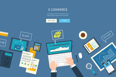 Flat design illustration concepts for business. Analysis and planning, e-commerce, financial report, online shopping, project management, development Stock Images