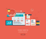 Flat design illustration concepts for business. Analysis and planning, online shopping, financial report, project management and development. Concepts web Royalty Free Stock Images