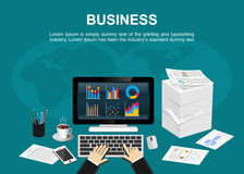 Flat design illustration concepts for business,statistic or finance. Royalty Free Stock Photo