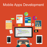 Flat design illustration concepts for mobile apps development or programming. Royalty Free Stock Image