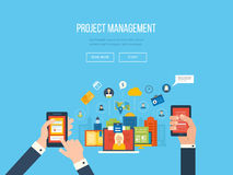 Flat design illustration concepts for project. Management. Concept to building successful business Stock Images