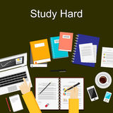 Flat design illustration concepts for study hard, working, research, analysis, management, career, brainstorming, finance, working. Concepts for web banner and Stock Images