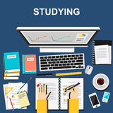 Flat design illustration concepts for studying, working Stock Photos