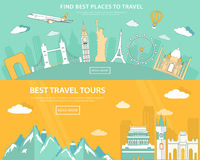 Flat design illustration concepts for travelling and tourism. web banner with set of world landmarks and places to travel Stock Images