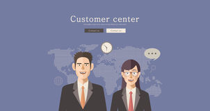 Flat design  illustration customer center concept design, Abstract urban modern&classic style, high quality business series. Stock Image