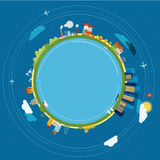 Flat design illustration of the Earth with buildings Royalty Free Stock Photo