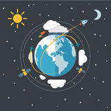 Flat design illustration of the Earth Stock Photos