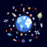 Flat design illustration of Earth with space icons Royalty Free Stock Photography