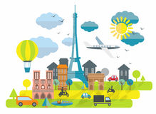 Flat design illustration with Eiffel tower in Paris town Stock Images