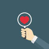 Flat Design of illustration find Red Heart. People Hand Holding A Magnifying Glass, find the love illustration Stock Image