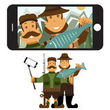 flat design illustration with fisher and hunter and self Royalty Free Stock Photography