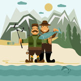 flat design illustration with fisher and hunter and self Stock Images