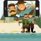 flat design illustration with fisher and hunter and self Royalty Free Stock Photos