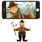 flat design illustration with fisher and selfie stick. V Stock Photos