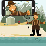 flat design illustration with fisher and selfie stick. V Royalty Free Stock Photography