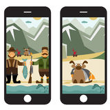 Flat design illustration with fisherman and hunter in sm Royalty Free Stock Photography