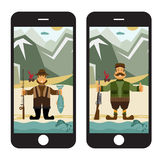 Flat design illustration with fisherman and hunter in sm Royalty Free Stock Photos