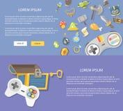Flat design illustration gaming. Concepts web banner royalty free illustration