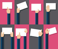 Flat design illustration of hands holding paper with copy space Stock Photos