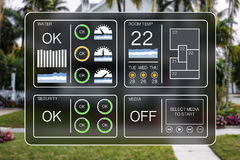Flat design illustration of a home automation dashboard to control home appliances Stock Image