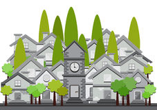 Flat design illustration of houses Royalty Free Stock Image