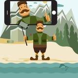 flat design illustration with hunter and selfie stick. V Stock Photos