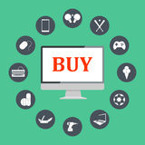 Flat design  illustration icons of e-commerce symbols, internet shopping elements and objects in retro stylish color. Royalty Free Stock Image