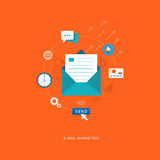 Flat design illustration with icons. E-mai marketing Stock Photography