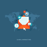 Flat design illustration with icons. E-mail marketing Stock Image