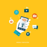 Flat design illustration with icons. Mobile services Royalty Free Stock Photography