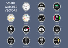 Flat design  illustration icons of smart watch clock faces Royalty Free Stock Image
