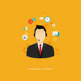 Flat design illustration with icons. Technical support assistant Stock Photo
