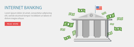 Flat design illustration with icons and text. Digital banking Stock Image