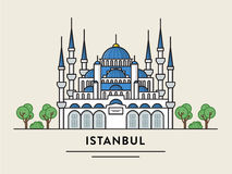 Flat design illustration of Istanbul Turkey detailed silhouette. stock illustration