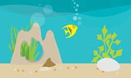 Flat design illustration of life in an aquarium with decorations vector illustration
