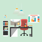 Flat design illustration of modern workspace. Office interior, vector Royalty Free Stock Photo