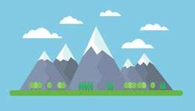 Flat design illustration of mountains on meadow with trees on fo Stock Image