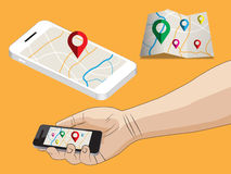 Flat design illustration of navigation application Stock Image