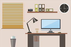 Flat design  illustration office workspace Royalty Free Stock Photos