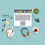 Flat design illustration of office workspace. Stock Image
