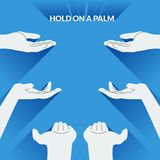 Flat design illustration palms of the hands. Concept for the demonstration of any objects. Stock Photography