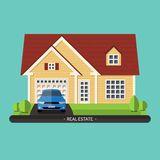 Flat design illustration of residential house Royalty Free Stock Photo