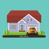 Flat design illustration of residential house Royalty Free Stock Images