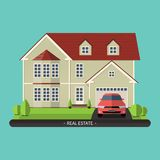 Flat design illustration of residential house Royalty Free Stock Photos
