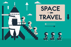 Flat design illustration with rocket and stick figures as space business tourists. Space travel concept. Flat design illustration with rocket and stick figures Stock Image