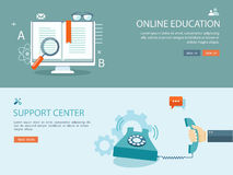 Flat design illustration set with icons and text. Online educati Stock Images